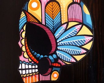 Hand Painted Acrylic Skull Cut Out