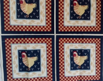 Vintage Panel # 134 Chickens with FREE SHIPPING