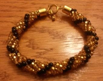 Woven rope beaded bracelet