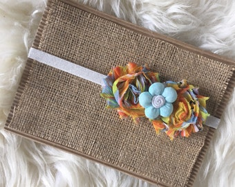 Light Blue, Orange, Yellow Flower Headband, Shabby Chic Flower Headband, Newborn, Toddler, Baby, and Child Headband