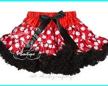 Red, White, Black, Pettiskirt,Premium Petticoat, ruffle baby skirt, Minnie Mouse Inspired,baby girl tutu, toddler tutu, photography props
