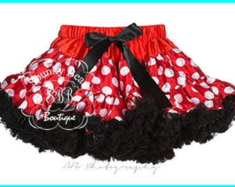 Red, White, Black, Pettiskirt,Premium Petticoat, ruffle baby skirt, Minnie Mouse Inspired,baby girl tutu, toddler tutu, photography props