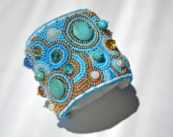 Embroidered Seed beaded cuff bracelet Mermaid gemstones turquoise boho nautical