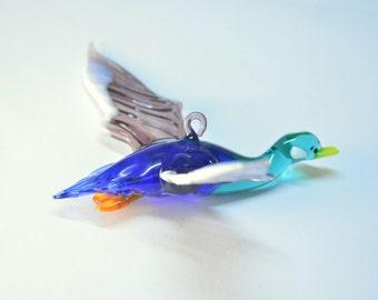 Glass Flying Duck Figurine Hanging