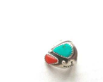 Turquoise Coral Sterling Silver Native American Ring