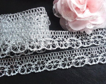 1 inch wide metallic silver lace trim price for 2 yard
