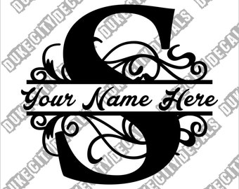 Letter S Floral Initial Monogram Family Name Vinyl Decal Sticker - Personalized Floral Name Decal