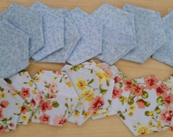 Floral blue epp hexie pack (16)  (4cm each side)