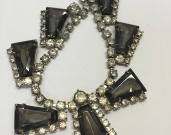 Vintage 1950s Crystal Necklace, Hollywood Regency Crystal Necklace, 50s Glamour Rhinestones Necklace-Free Shipping Inside the US