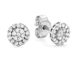 Diamond Stud Earrings, Diamond Cluster Earrings, Invisible Diamonds