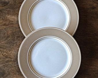 Fitz and Floyd beige renaissance salad plates, vintage fitz and floyd, beige fitz and floyd dishes
