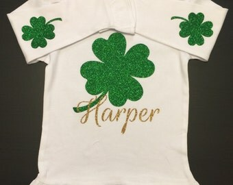 Glitter Shamrock St. Patrick's Day long sleeve Ruffle shirt