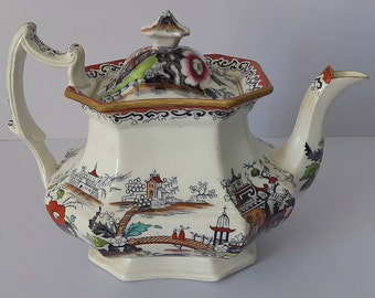 Collectible Antique English Ironstone Teapot, Chinoiserie Pattern, J and R Godwin, Circa 1834-66, Chinoiserie Teapot