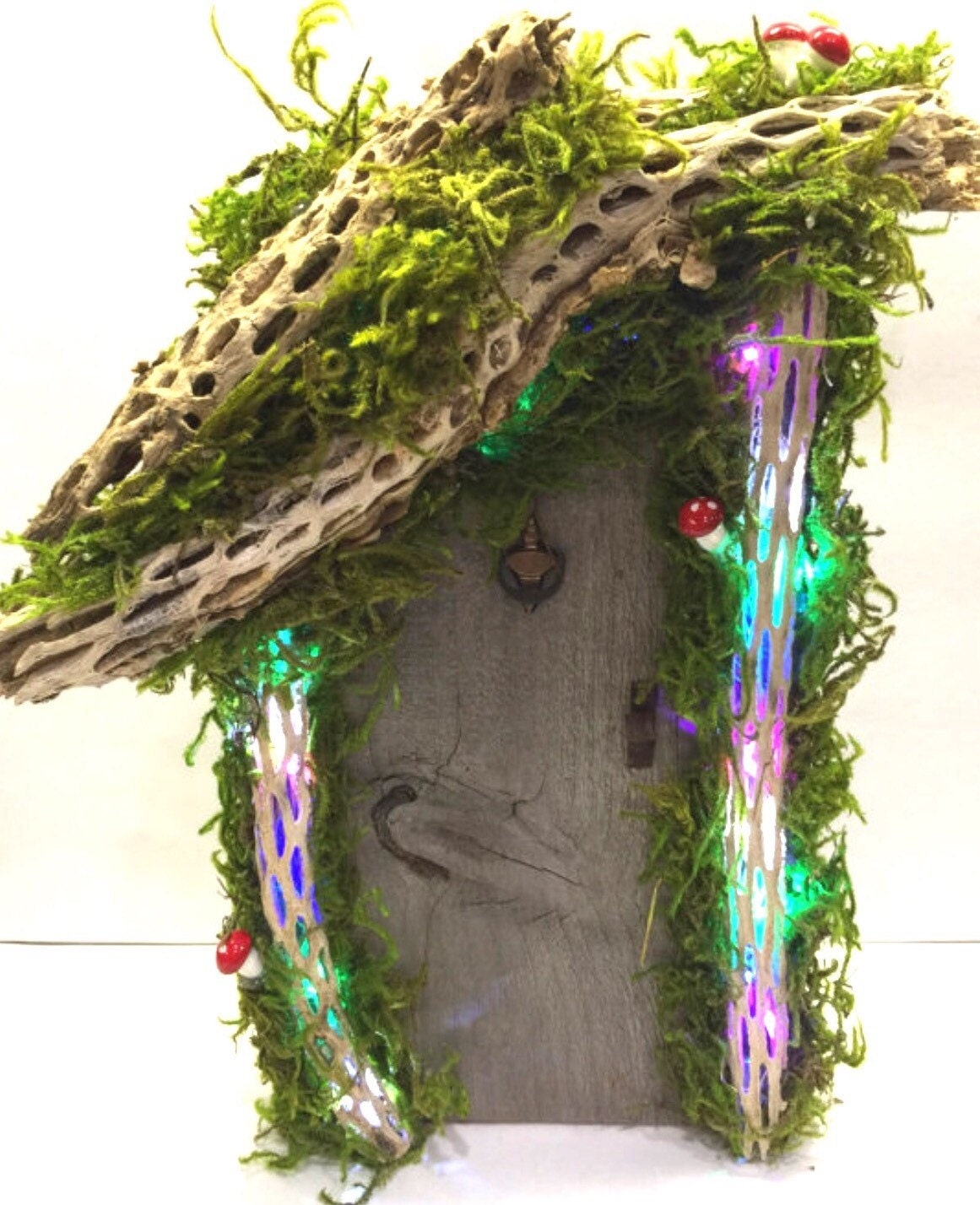 Large lighted tinkerbell fairy gnome and fairy door for Tinkerbell fairy door