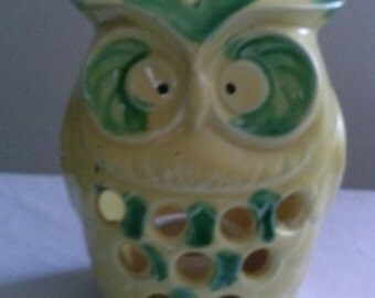 Beautiful Hand Painted Ceramic *OWL* Yellow with Green designed* CANDLE HOLDER* Indoor/Outdoor*