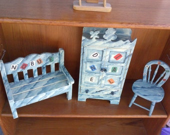 Beautiful Hand Made & Painted Doll Furniture Set*