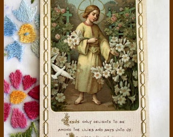 "Vintage Bouasse Jeune Catholic Holy Card ""Jesus Among the Lilies"" Made in France"
