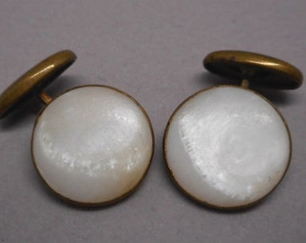Antique Victorian Cuff Links Cufflinks Mother of Pearl Lovely!