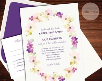 Watercolor Floral Border Wedding Invitation - Custom Handmade Wedding Invitation Suite by June & Ross Paper - Deposit to get started
