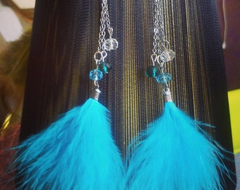 Sky blue feather earrings