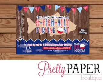 Gone Fishing Birthday Invitation // Navy and Red // O-FISH-ALLY - Digital or Printed