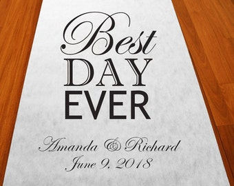 Best Day Ever Personalized Wedding Aisle Runner (MICPBSTAR51)