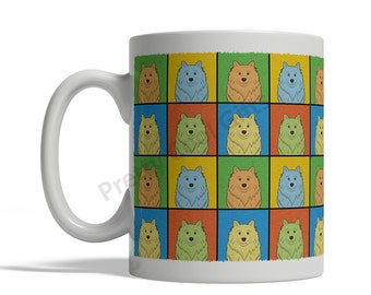 American Eskimo Dog Cartoon Pop-Art Mug - 11oz. Ceramic Coffee Tea Cup