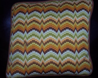 Retro needlepoint brown and orange pillow with brown corduroy back 13.5 inches square