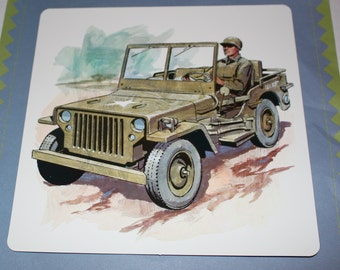 Large Vintage Flash Card - Army Jeep Print - Retro Army Print - 1960's
