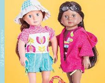 """ModKid - Summer Fun - Paper Patterns for 18"""" Dolls for swimsuits and summer accessories"""