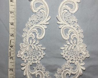 White Venise Lace Applique Bridal Craft Sold as pair