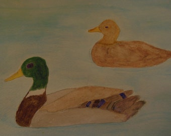 Original watercolor painting Ducks in a pond  9x12