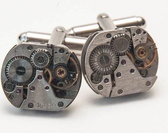 16mm Watch Movement Steampunk Cufflinks Cufflinks Vintage Silver and Handmade