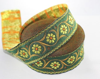 35 mm Green Floral Embroidered ribbon (1.37 inches) -  Vintage Jacquard - Floral ribbon - Floral trim - woven jacquard - jacquard ribbons