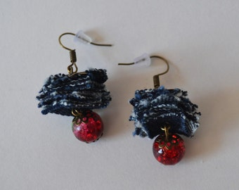 Handmade earrings. Beads glass and denim