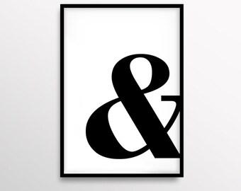 Modern Poster, Scandinavian Print, Ampersand Poster, Minimalist, Home Decor, Black & White Print, Printable, Simple Poster, Typography Art