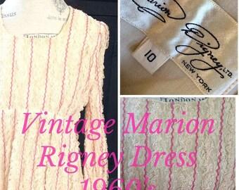 Marion Rigney Vintage 1960s 60s Lined Lace Dress