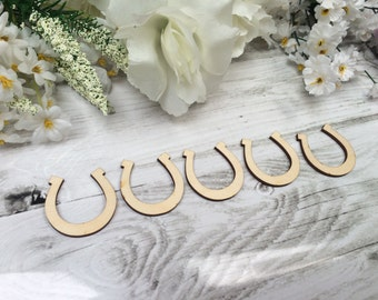 Wooden 3mm Thick Craft Shapes Pack of 10 - Horseshoe - Luck/Wedding