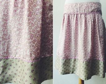 Silk Skirt, Vintage Silk Skirt, Skirt Flowers Print, Skirt To Knee, Low waist, Woman Skirt, Summer Skirt, Gift For Her