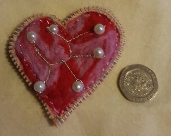 Red heat felted brooch