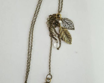 Autumn Leaves Long  Brass Necklace