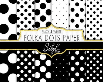 60% OFF SALE, Black And White Polka Dots Digital Paper, Digital Black And White Polka Dots Background, Scrapbook Papers, Polka Dots Pattern