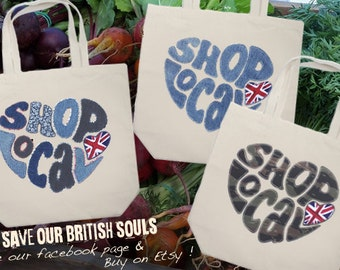 Shop Local Calico Shopping Bag Farmers Market Made in Britain UK England
