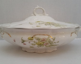 Vintage Soup Tureen with Green Flowers and gold accents