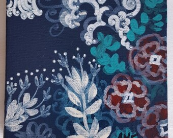 Floral abstract  in blue