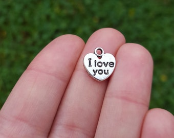 10 PIECES Stamped Heart Charm, I love you, Metal Alloy charms, heart charms, I love you charms, Valentine's charms B05350