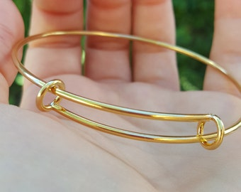 1 Stainless Steel Gold Tone Expandable Bangle Bracelet Q00922