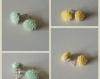 Pale blue and pale lemon yellow floral earrings