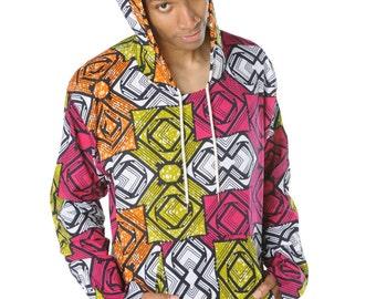 African Hoodie - Hamed Hoodie - Colourful Hoodie - African Wax Print