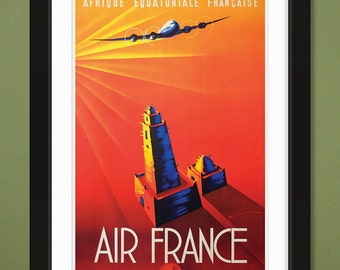Vintage Travel Poster – Air France – Afrique Francaise (12x18 Heavyweight Art Print)
